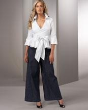 Tennille White Wrap Top & High-Waist Denim Pant