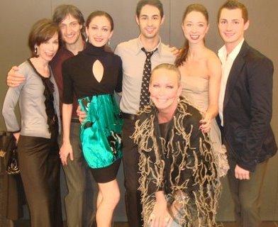 Blog 4 - Helen Melchior and me with Joffrey dancers Temur Suluashvili, Victoria Jaiani, Mauro Villanueva, April Daley and David Gombert