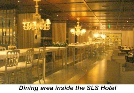 Blog 6 - Dining area inside the SLS Hotel