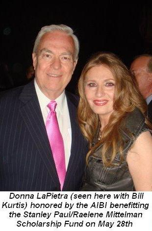 01 -  Donna LaPietra seen here with Bill Kurtis as honored by the AIBI benefitting the Stanley Paul Raelene Mittelman Scholarship Fund on May 28th