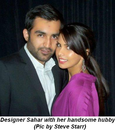 Blog 12 - Designer Sahar with her handsome hubby Pic by Steve Starr