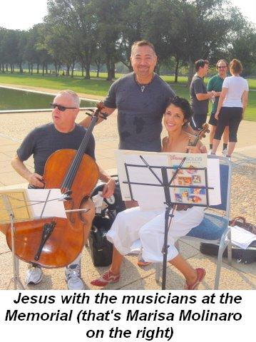 Blog 6 - Jesus with the violinists at the Memorial (Marisa Molinaro right)