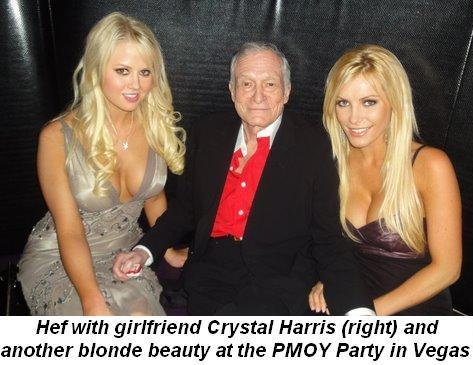 Hef with girlfriend Crystal Harris (R) at PMOY party in Vegas