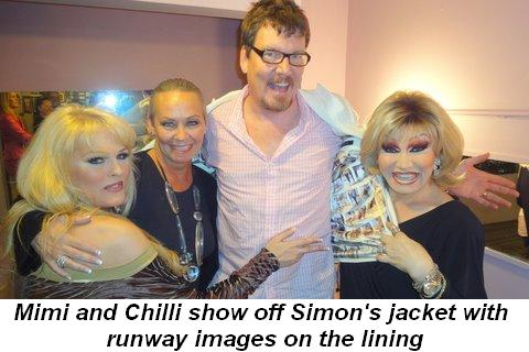 Blog 10 - Mimi and Chilli show off Simon's jacket with runway images on the lining