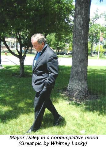 Blog 1 - Mayor Daley in a contemplative mood. (Great pic by Whitney Lasky)