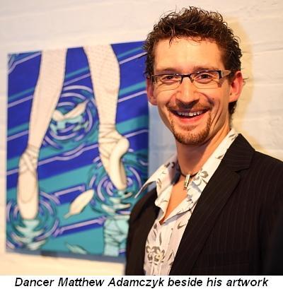 Blog 9 - Dancer Matthew Adamczyk besides his artwork