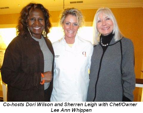 Blog 1 - Co-hosts Dori Wilson and Sherren Leigh with Chef-Owner Lee Ann Whippen