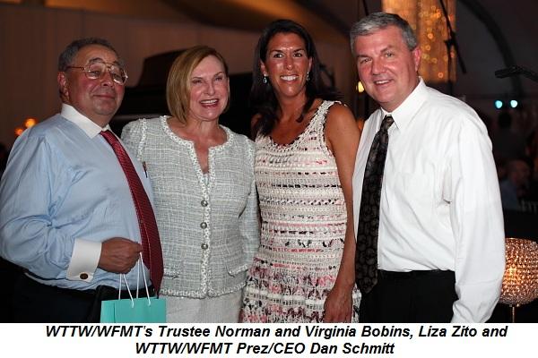 WTTW-WFMT's Trustee Norman and Virginia Bobins, Liza Zito and WTTW-WFMT Prez-CEO Dan Schmidt
