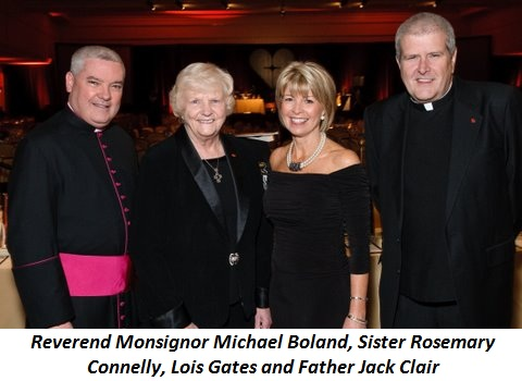 Blog 1 - Reverend Monsignor Michael Boland, Sister Rosemary Connelly (ED), Lois Gates (Asst. ED), and Father Jack Clair