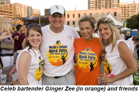 Blog 3 - Celeb bartender Ginger Zee (in orange) and friends