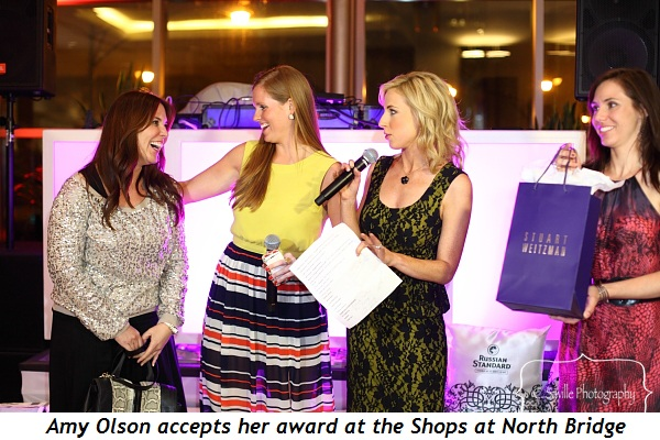 Blog 17 - Amy Olson accepts award at Shops at North Bridge