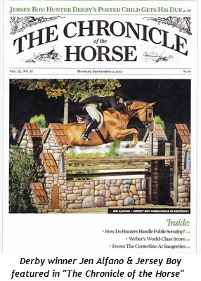 Blog 8 - Derby winner Jen Alfano and Jersey Boy featured on cover