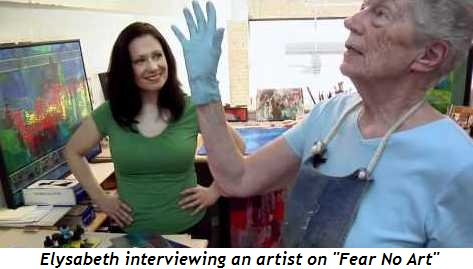 Elysabeth interviewing artist on Fear No Art