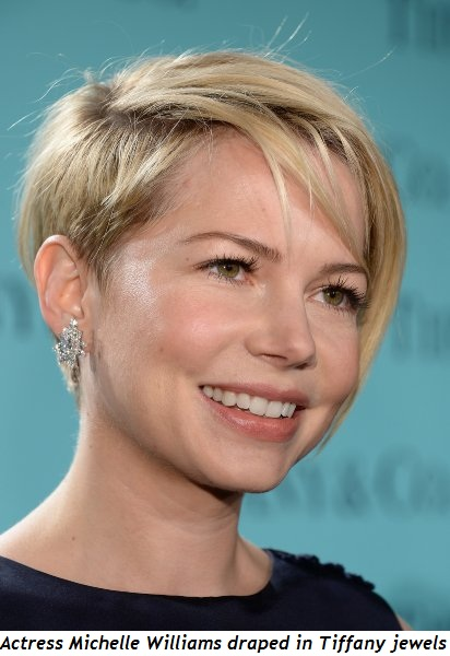 12 - Actress Michelle Williams draped in Tiffany jewels