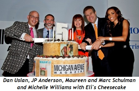 1 - Dan Uslan, JP Anderson, Maureen and Marc Schulman and Michelle Williams with Eli's Cheesecake