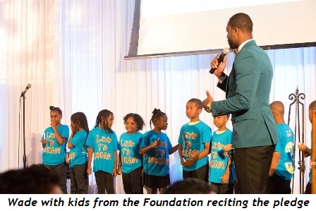2 - Wade with kids from the Foundation reciting the pledge