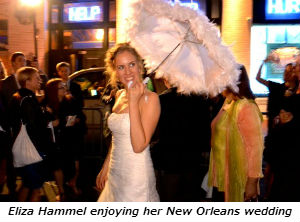 Eliza Hammel enjoying her New Orleans wedding