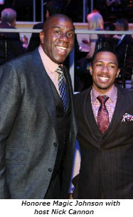 Honoree Magic Johnson with Host Nick Cannon