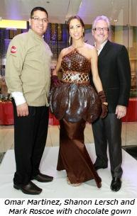 Omar Martinez Shanon Lersch Mark Roscoe with chocolate gown