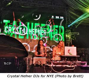Crystal Hefner DJs for NYE (Photo by Brett)