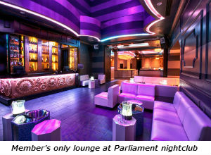 Member's only lounge at Parliament nightclub