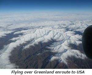 Flying over Greenland enroute to USA