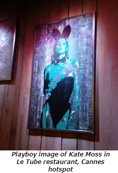 Playboy image of Kate Moss in Le Tube restaurant Cannes hotspot