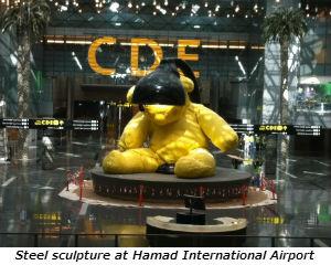 Steel sculpture at Hamad International Airport