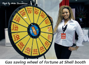 Gas saving wheel of fortune at Shell booth