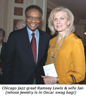 Chicago jazz great Ramsey Lewis and wife Jan whose jewelry is in Oscar swag bag