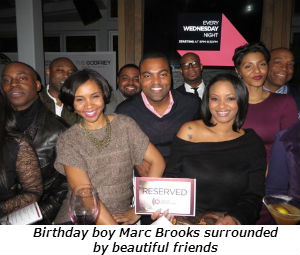 Birthday boy Marc Brooks surrounded by beautiful friends
