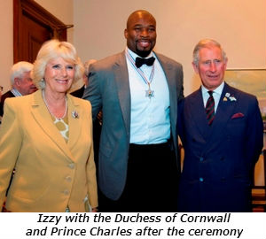 Izzy with the Duchess of Cornwall and Prince Charles