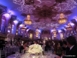 Dramatic Grand Ballroom of the Hilton Chicago with decor by Tom Kehoe