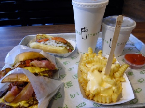 Shake Shack burger, fries and hotdog