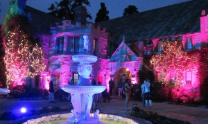 Playboy Mansion all lit up for the party.