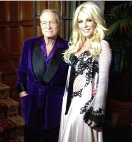 Hef and wife Crystal Harris at a past MND party