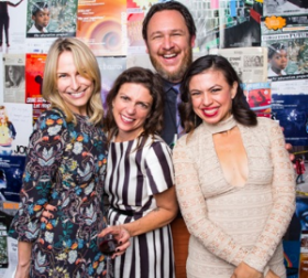 TV writer, producer and playwright Ellen Fairey, Beggars' Banquet honoree, and Collaboraction founder Kimberly Senior, artistic director Anthony Moseley and original company member Sandra Delgado.