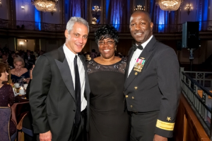 Mayor with Sheila Evans, Rear Admiral Stephen Evans, USN