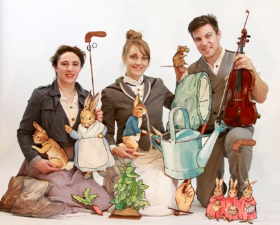 Lara Carling, Kay Kron and Ray Rehberg star in A Snowy Day with Beatrix Potter & Friends.  Performances will be held at three different locations in the city over the holidays, every Saturday, November 28 through December 19