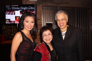 Emcee Judy Hsu with Bernie Wong and Toni Preckwinkle