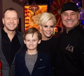 Donnie Wahlberg, Evan Asher, Jenny McCarthy and Chef Alain Roby