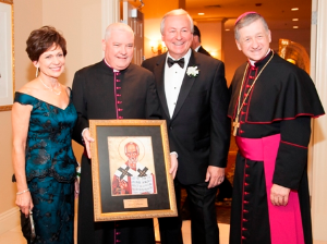Mary Anne Moschner, Monsignor Michael Boland (president of  Catholic Charities of the Archdiocese of Chicago), Most Reverend Blase J. Cupich, Archbishop of Chicago, Al Moschner.