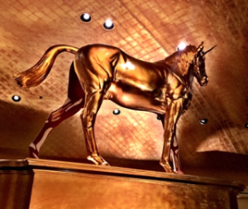 Damien Hirst's golden unicorn inside Pao restaurant--Faena Miami Beach