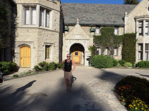 Posing in front of the Playboy Mansion, Holmby Hills