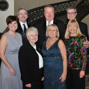 Dennis O'Malley, event chair; Dennis Reilly, President/CEO of LCMH; Dr. Michael O'Mara, event co-chair; Bottom – Jennifer O'Malley, event chair; Sr. Sharon Ann Walsh, L.C.M., chair of the Board of Directors at LCMH; Chris Reilly; Dr. Karen O'Mara, event co-chair