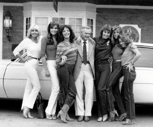 Michelob Light Playmates Janis Schmitt (Feb. '78), Lisa Sohm (April '77), Louann Fernald (June '79), me, Sandy Cagle (Feb. '80) and the late Gail Stanton (June '78)