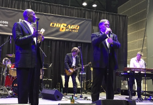 The Chicago 6 band, with former Bears players, performed in one of the booths
