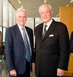 Alan Cramb, president of IIT, with Dirk Lohan, Mies' grandson/evening toastmaster