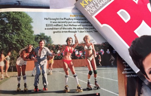 People Magazine with Hef rollerskating --April 18, 2016