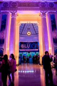 Shedd's historic gallery space and Caribbean Reef exhibit dressed in BLU